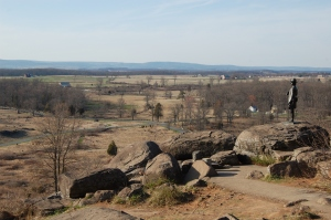 View from Little Round Top, with statue of Maj. Gen. Gouvernor K. Warren